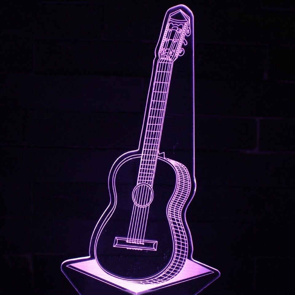 Guitar 1 - 3D Night Light Table Lamp
