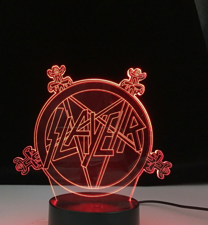 American Thrash Metal Band Slayer Logo - 3D Night Light Table Lamp