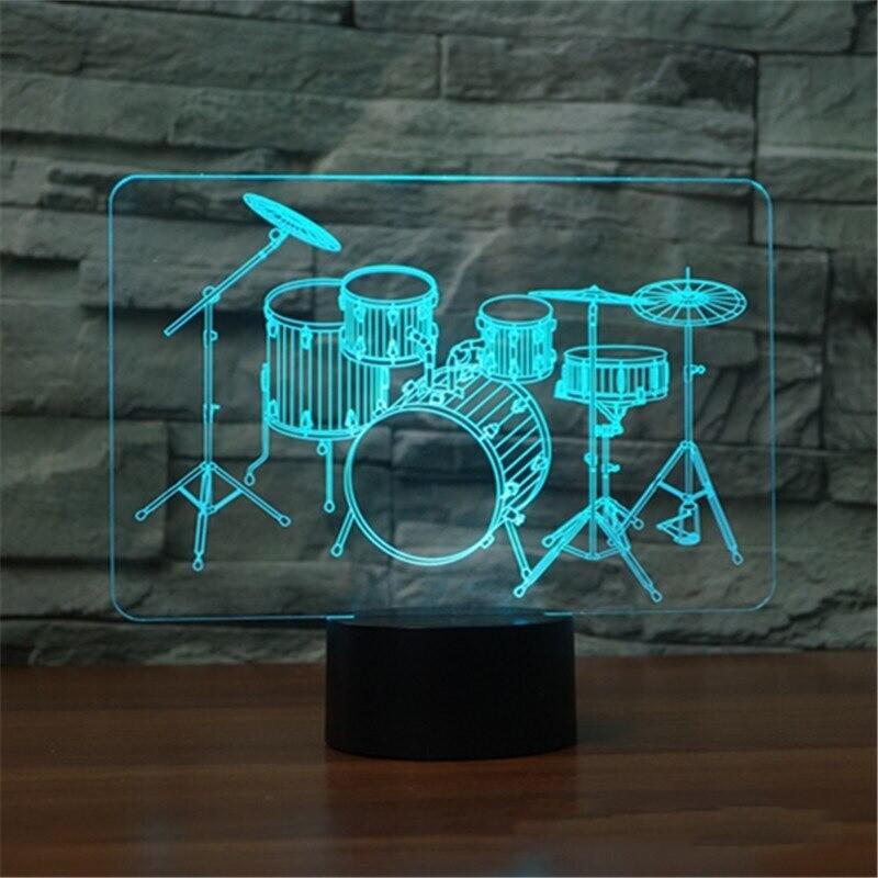 Drum Kit Rock - 3D Night Light Table Lamp