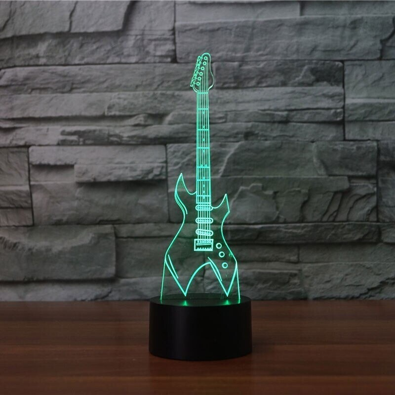 Electric Guitar Musical Instruments - 3D Night Light Table Lamp