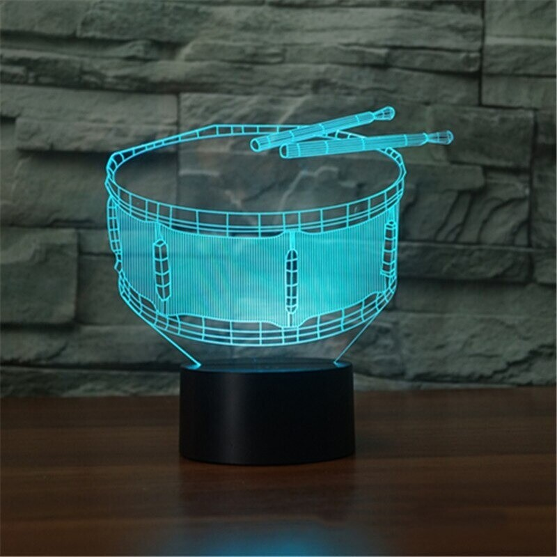 Drum - 3D Night Light Table Lamp