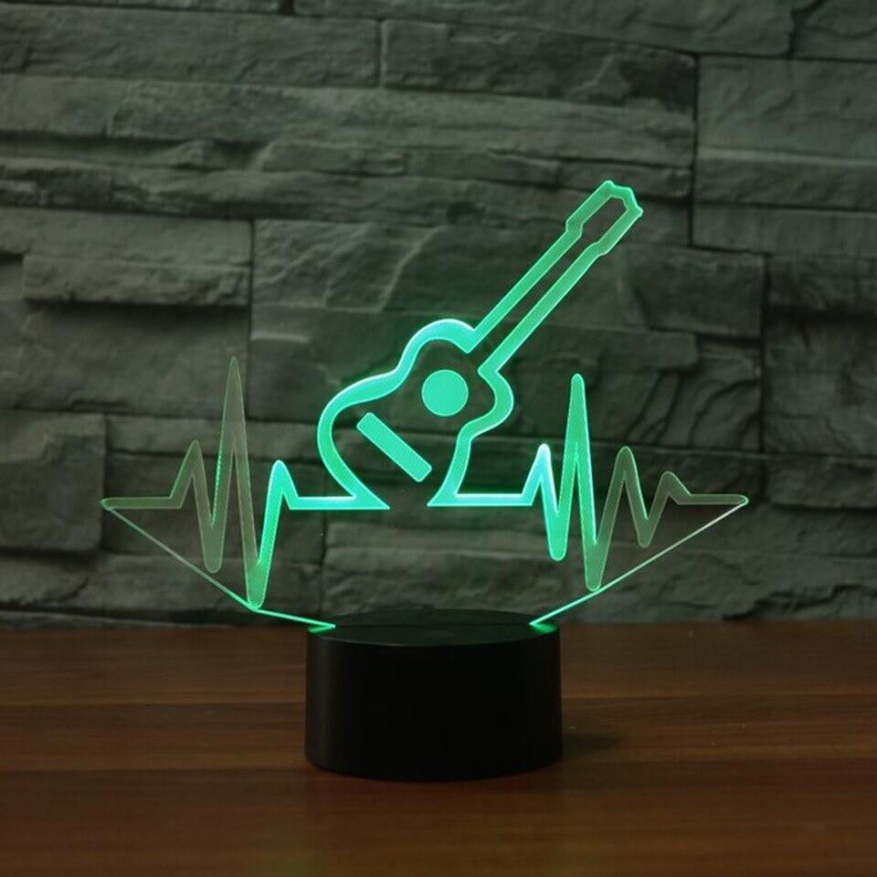 Ecg Beat Guitar - 3D Night Light Table Lamp