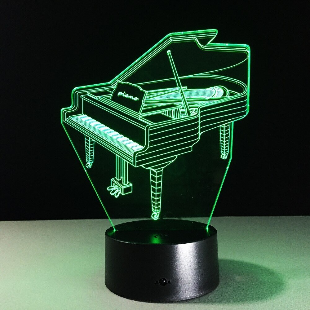 Music Instrument Piano - 3D Night Light Table Lamp