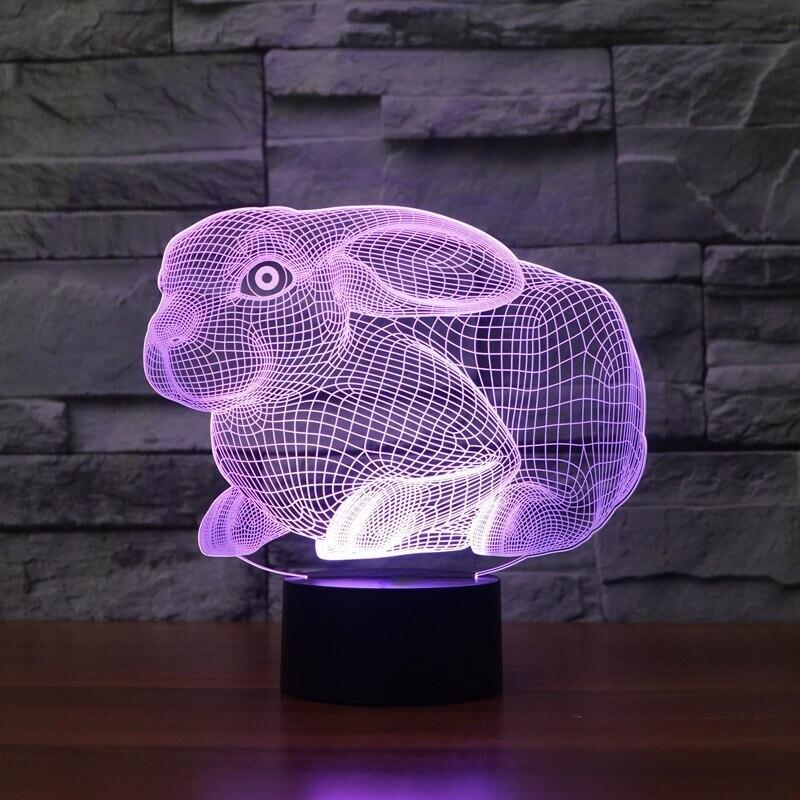Cute Rabbit - 3D Night Light Table Lamp