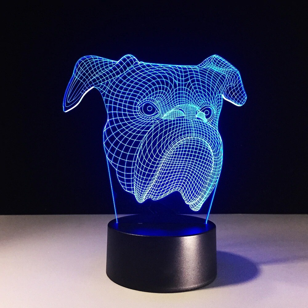 Dog Head Bulldog - 3D Night Light Table Lamp
