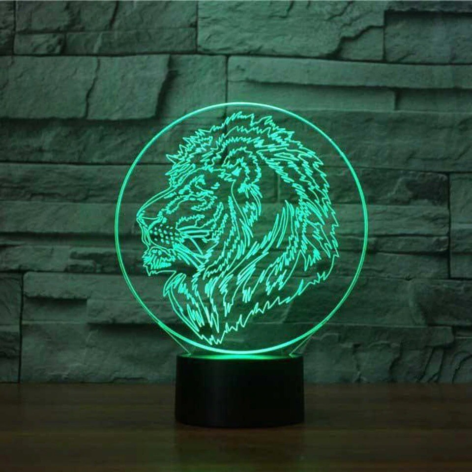Lion Head Modelling - 3D Night Light Table Lamp