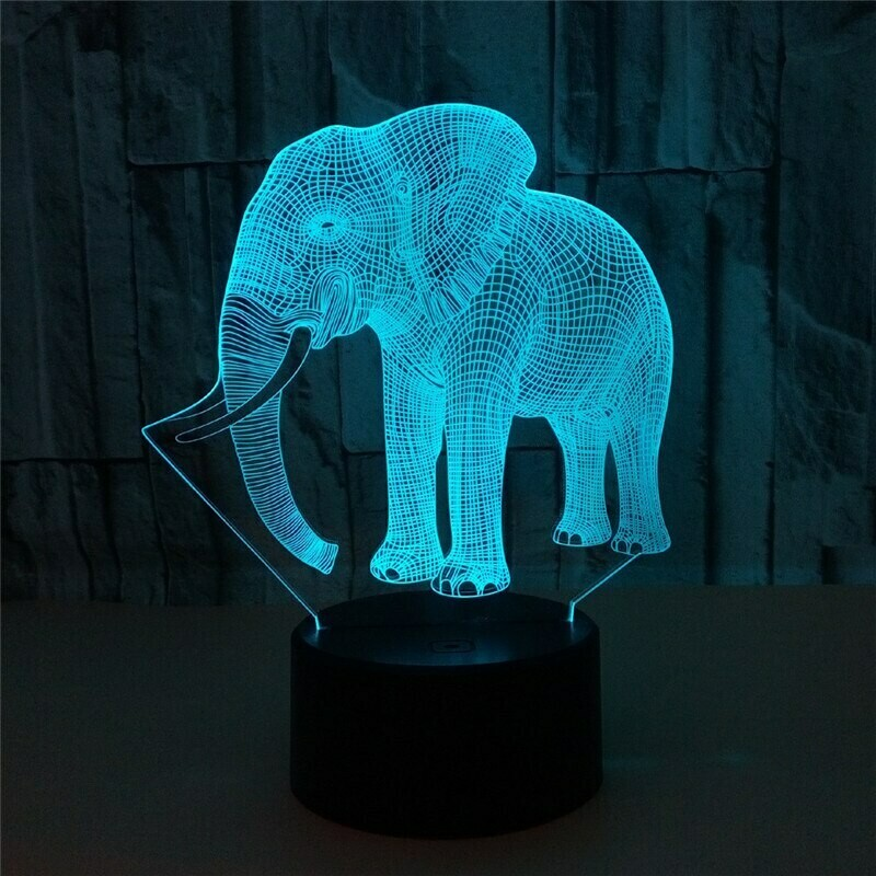 Ivory Elephant - 3D Night Light Table Lamp