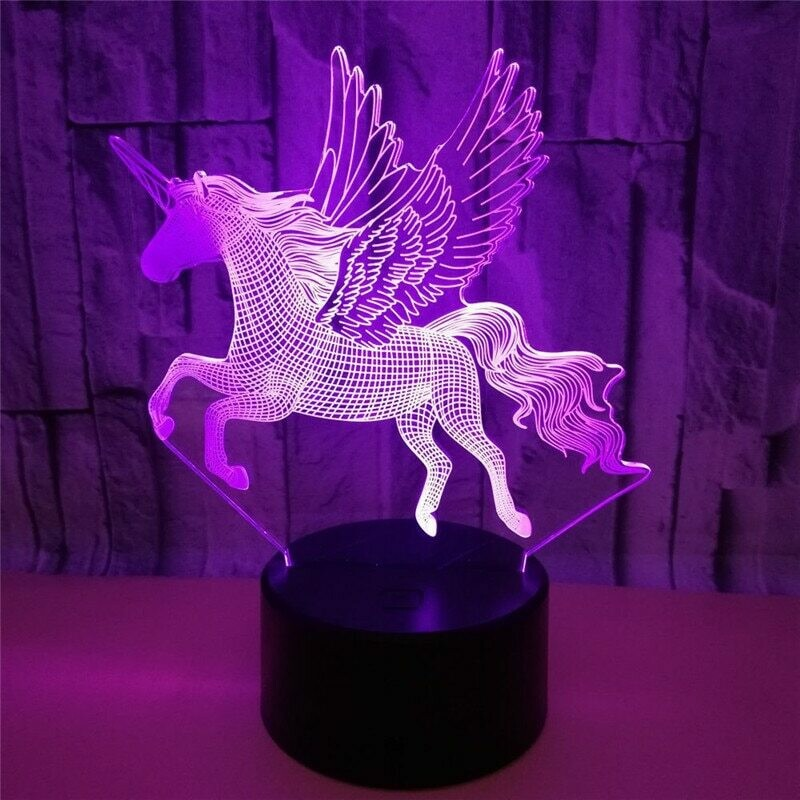 Lava Flying Wings Unicorn Horse - 3D Night Light Table Lamp