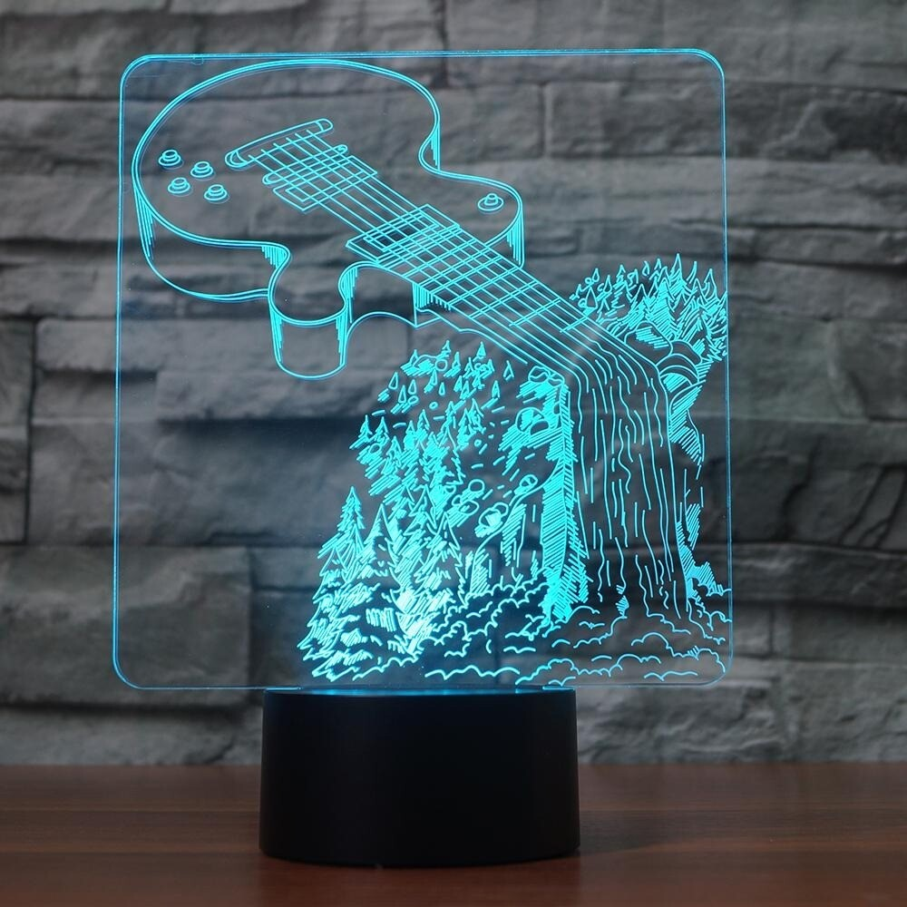 Guitar Waterfall - 3D Night Light Table Lamp
