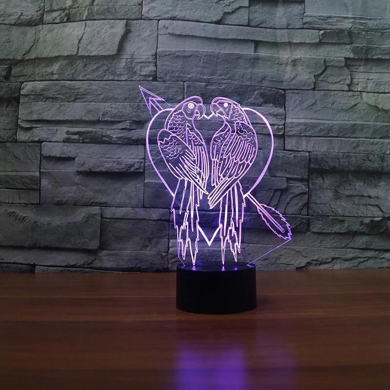 Novelty Parrot Bird Moulding - 3D Night Light Table Lamp