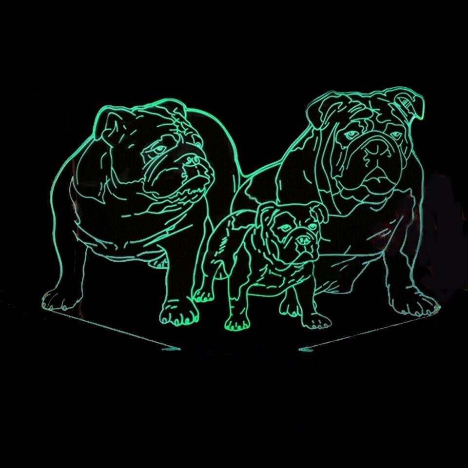 Pug Dog Family - 3D Night Light Table Lamp