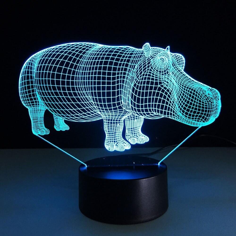 Rhino - 3D Night Light Table Lamp