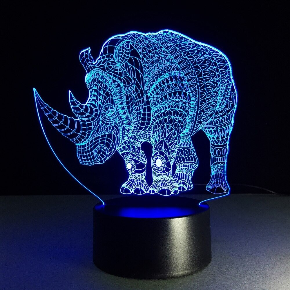 Rhinoceros - 3D Night Light Table Lamp