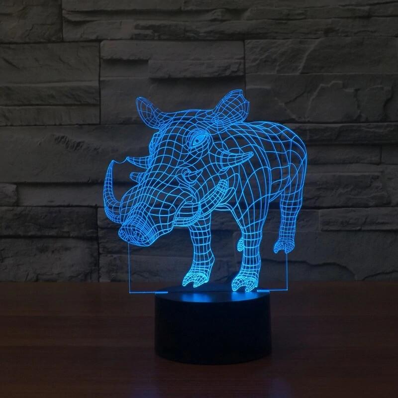 Pig Wild Boar Animal - 3D Night Light Table Lamp