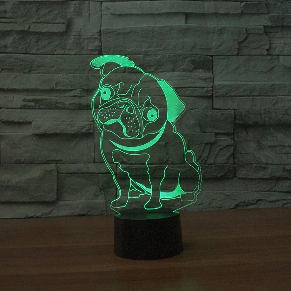 Pug Dog - 3D Night Light Table Lamp