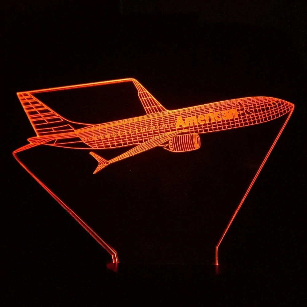 Aviation Aircraft 2 - 3D Night Light Table Lamp