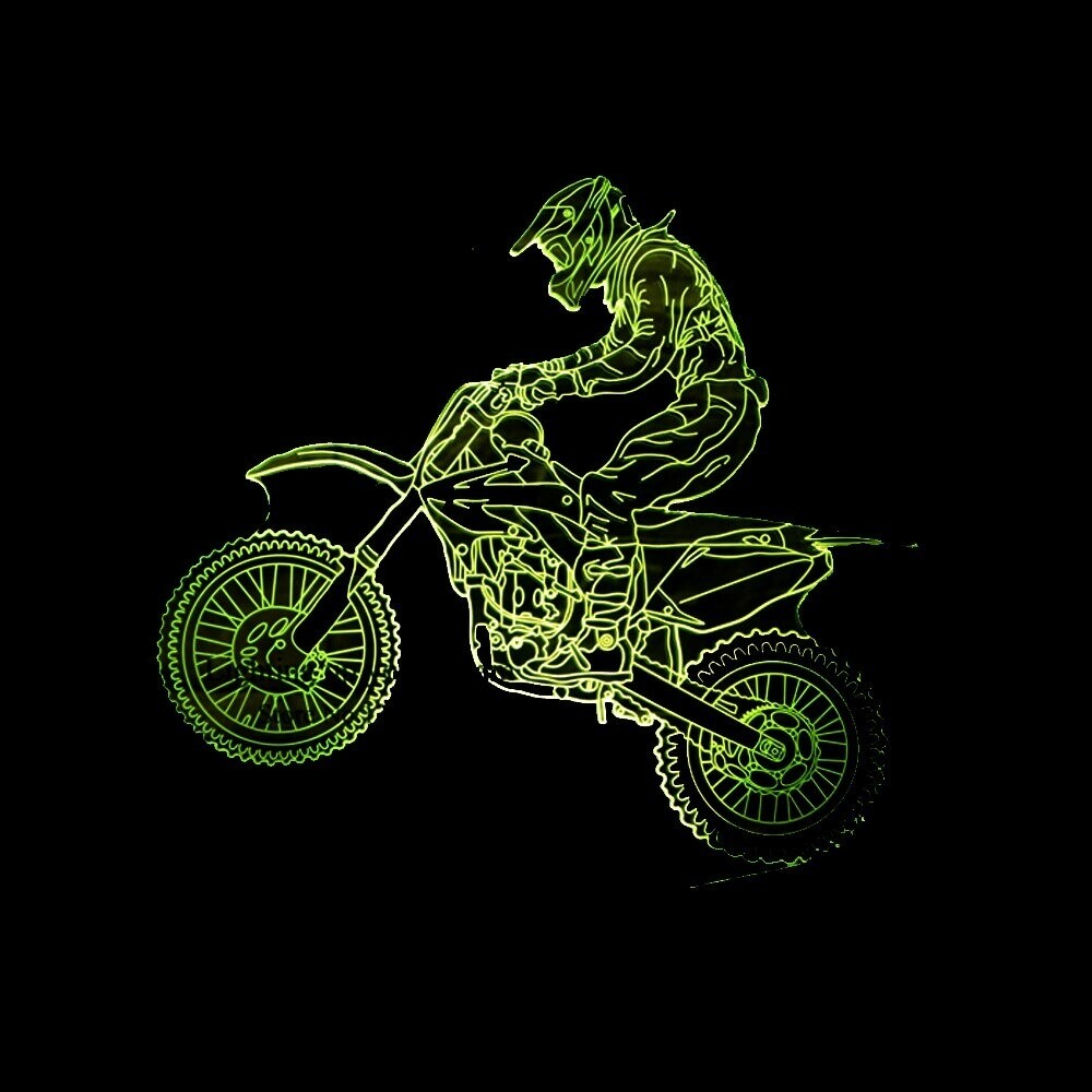 Cross-Country Motorcycle - 3D Night Light Table Lamp