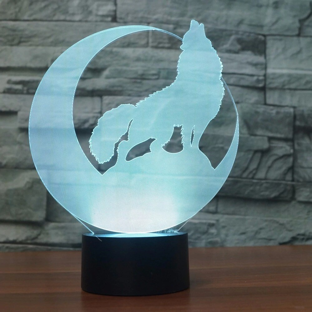 Wolf Howl In The Moon - 3D Night Light Table Lamp