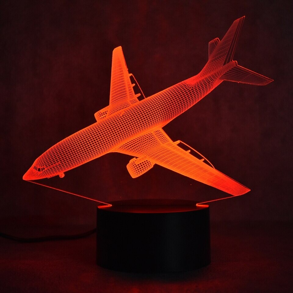 Colorful Aircraft - 3D Night Light Table Lamp