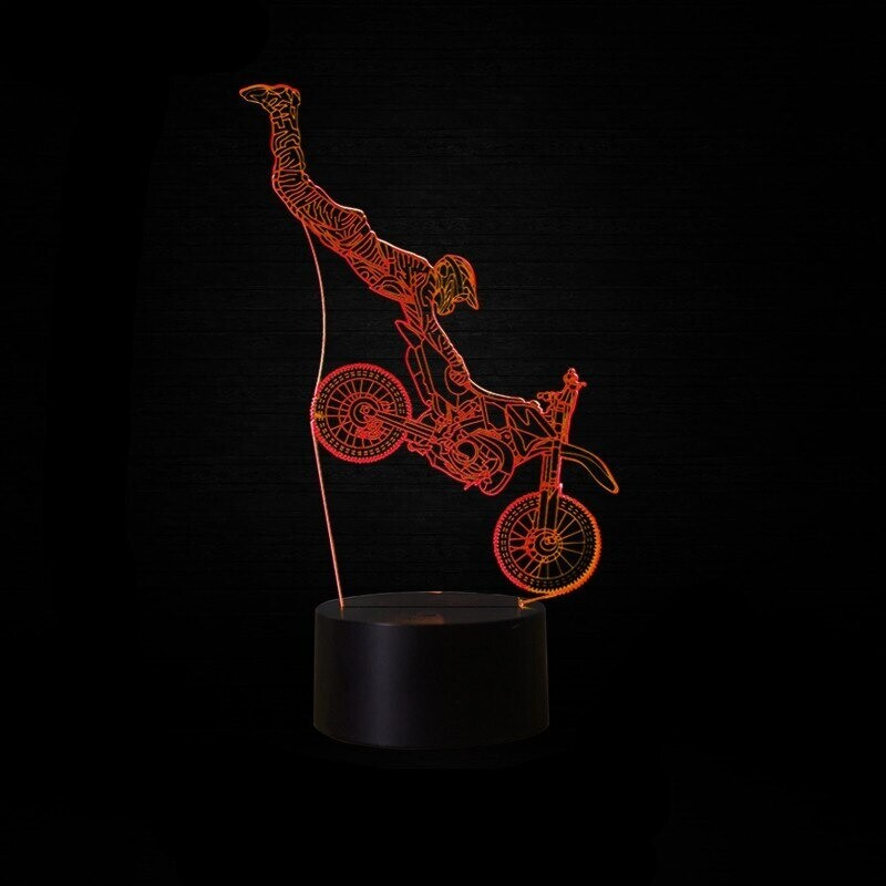 Cross-Country Motorcycle 3 - 3D Night Light Table Lamp