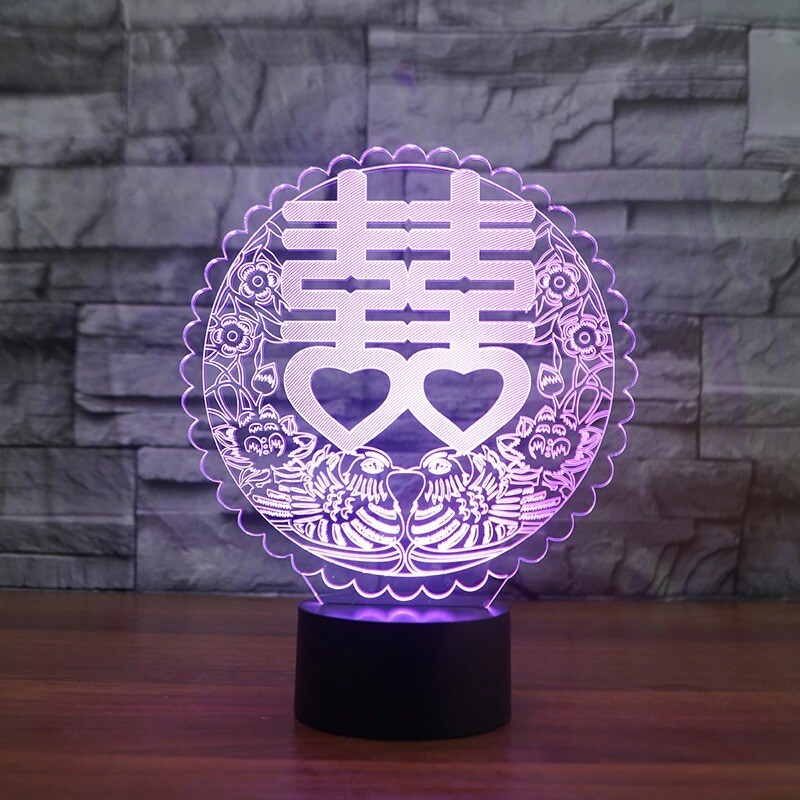 Double Happiness - 3D Night Light Table Lamp