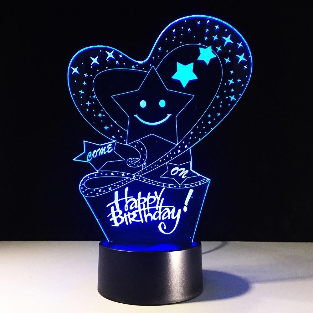 HAPPY BIRTHDAY Lampara - 3D Night Light Table Lamp