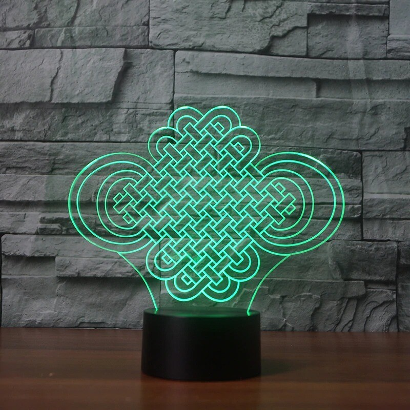 Lucky Chinese Knot - 3D Night Light Table Lamp