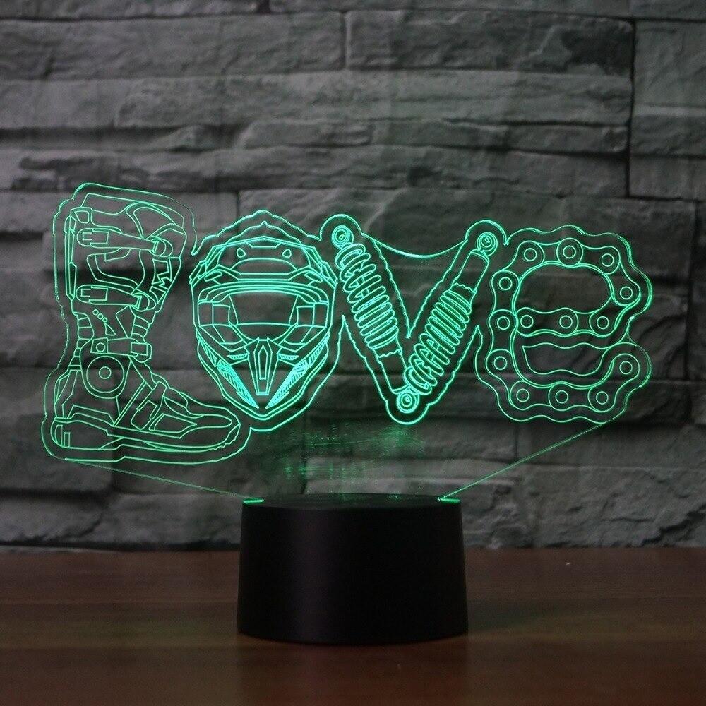 Mechanical Love - 3D Night Light Table Lamp