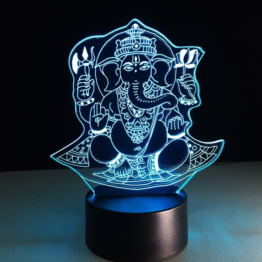 Elephant Head God Ganesha - 3D Night Light Table Lamp
