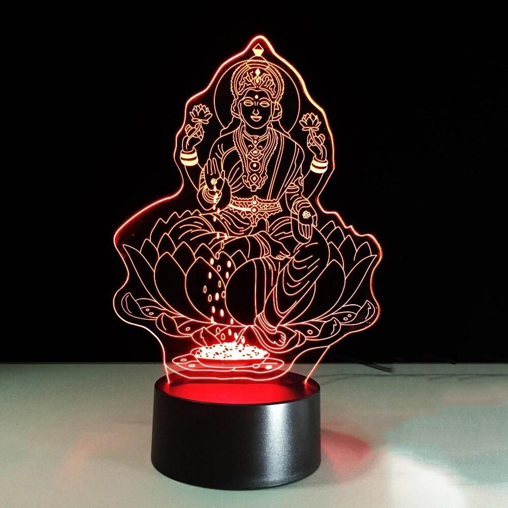 Lakshmi Visual India Goddess Of Wealth - 3D Night Light Table Lamp