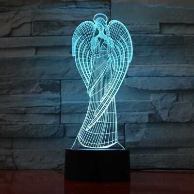 Colorful Wings Girl - 3D Night Light Table Lamp
