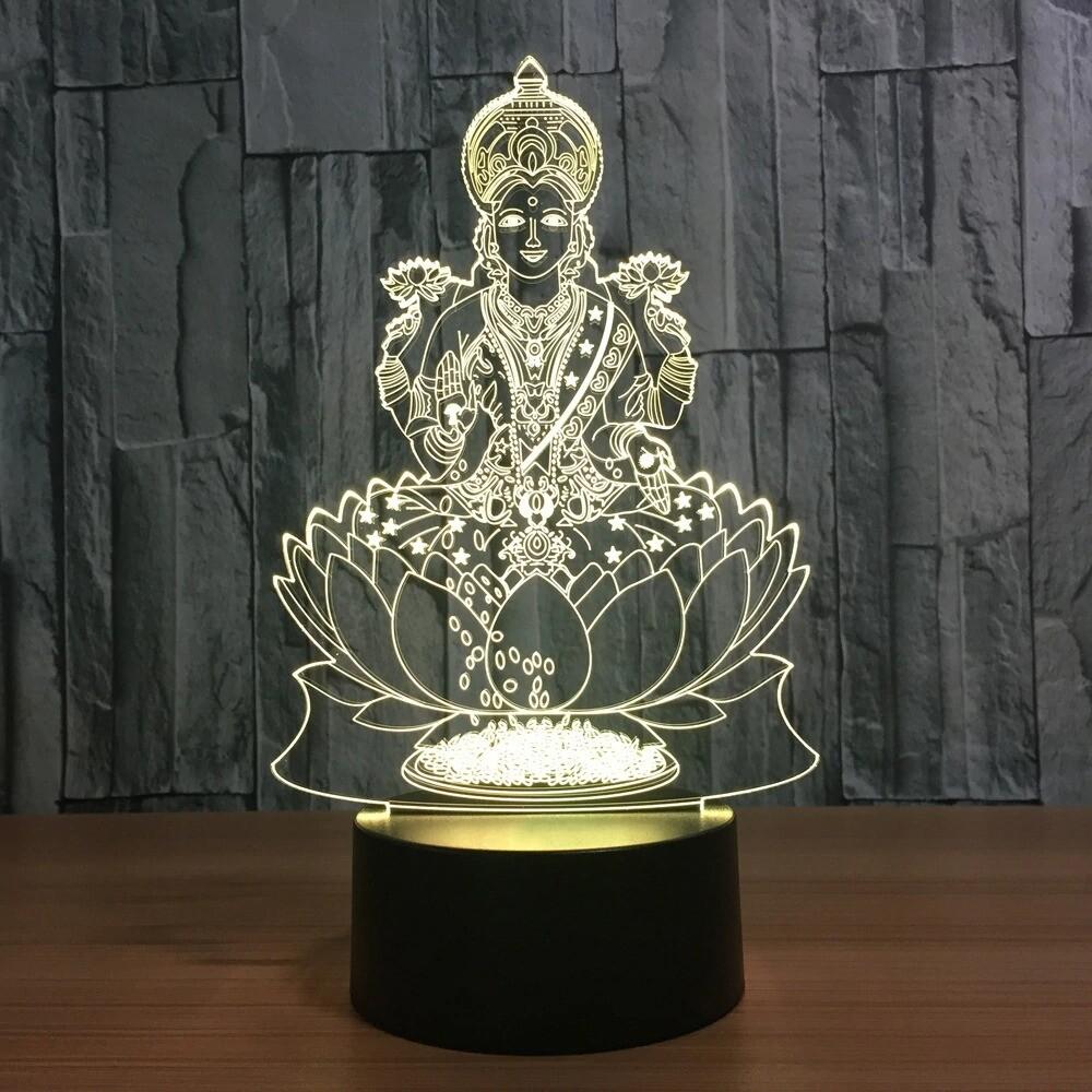 India Goddess Of Wealth - 3D Night Light Table Lamp