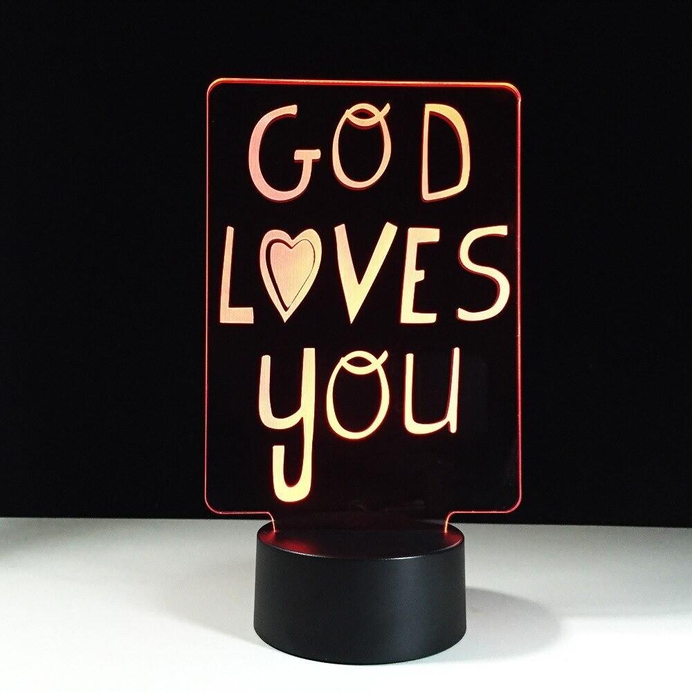 God Loves You - 3D Night Light Table Lamp