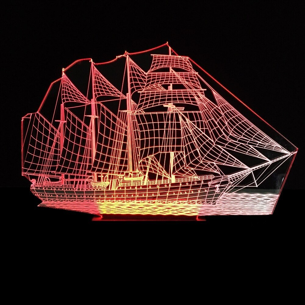 Sailing Boat - 3D Night Light Table Lamp