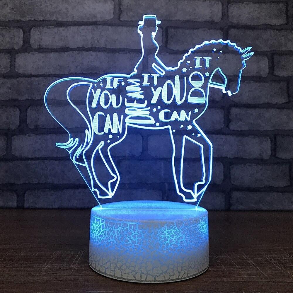 Horseback Riding - 3D Night Light Table Lamp