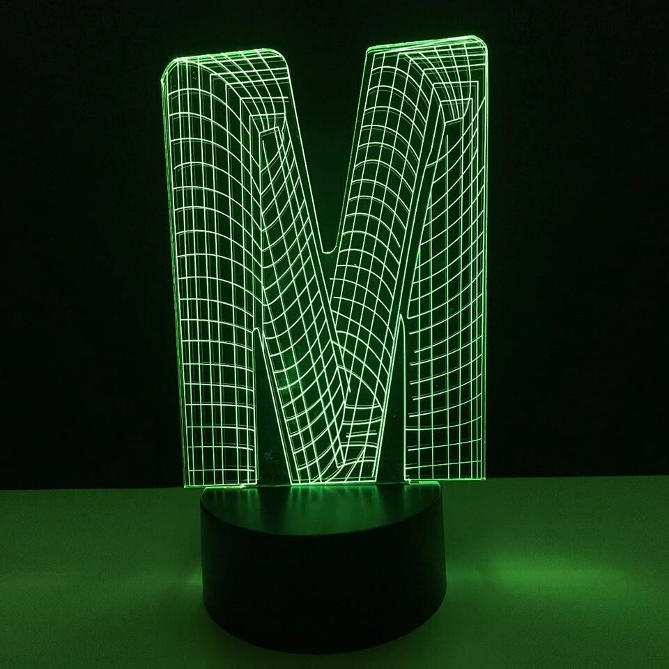 Alphabet Letter M - 3D Night Light Table Lamp
