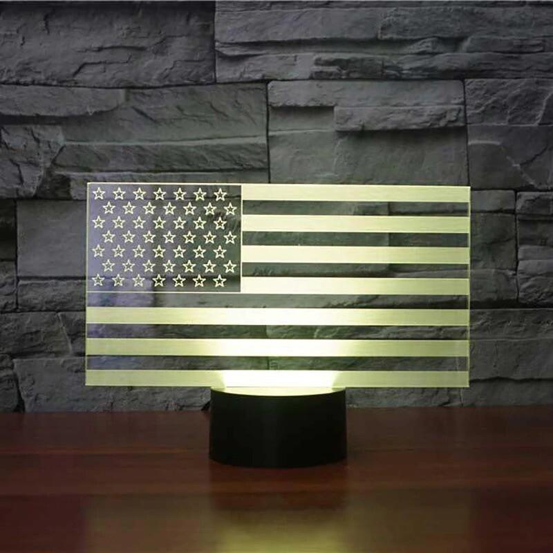 American Flag Stripes - 3D Night Light Table Lamp