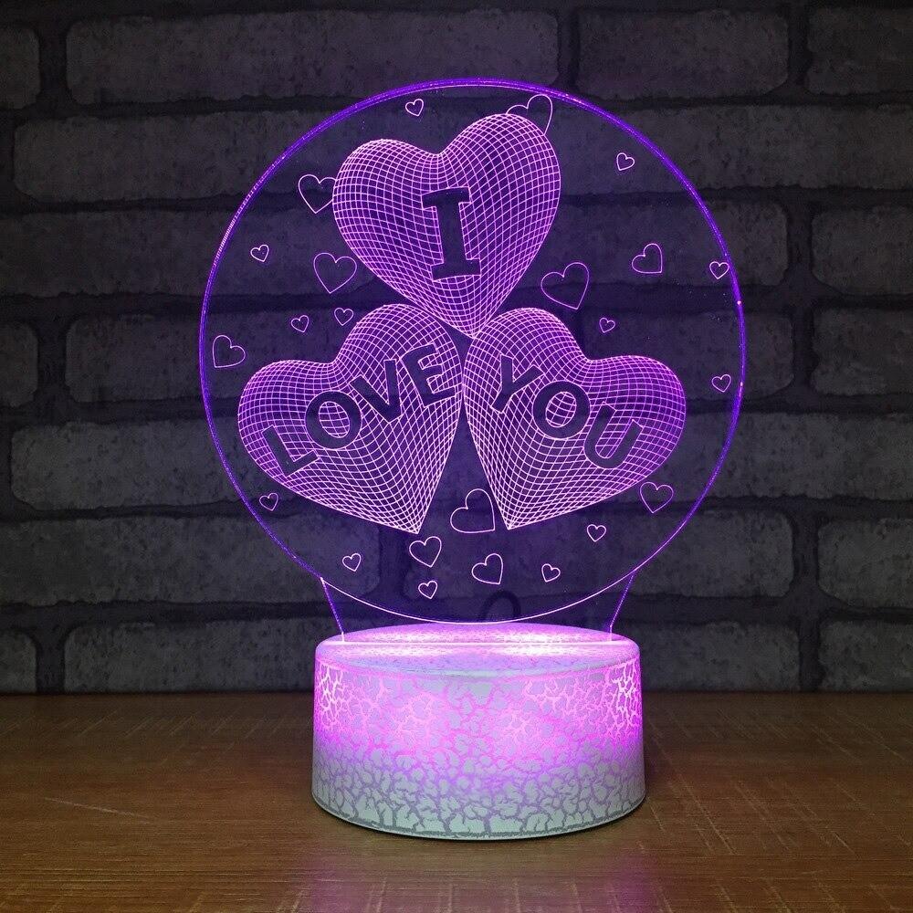 I LOVE YOU Heart-Shaped - 3D Night Light Table Lamp