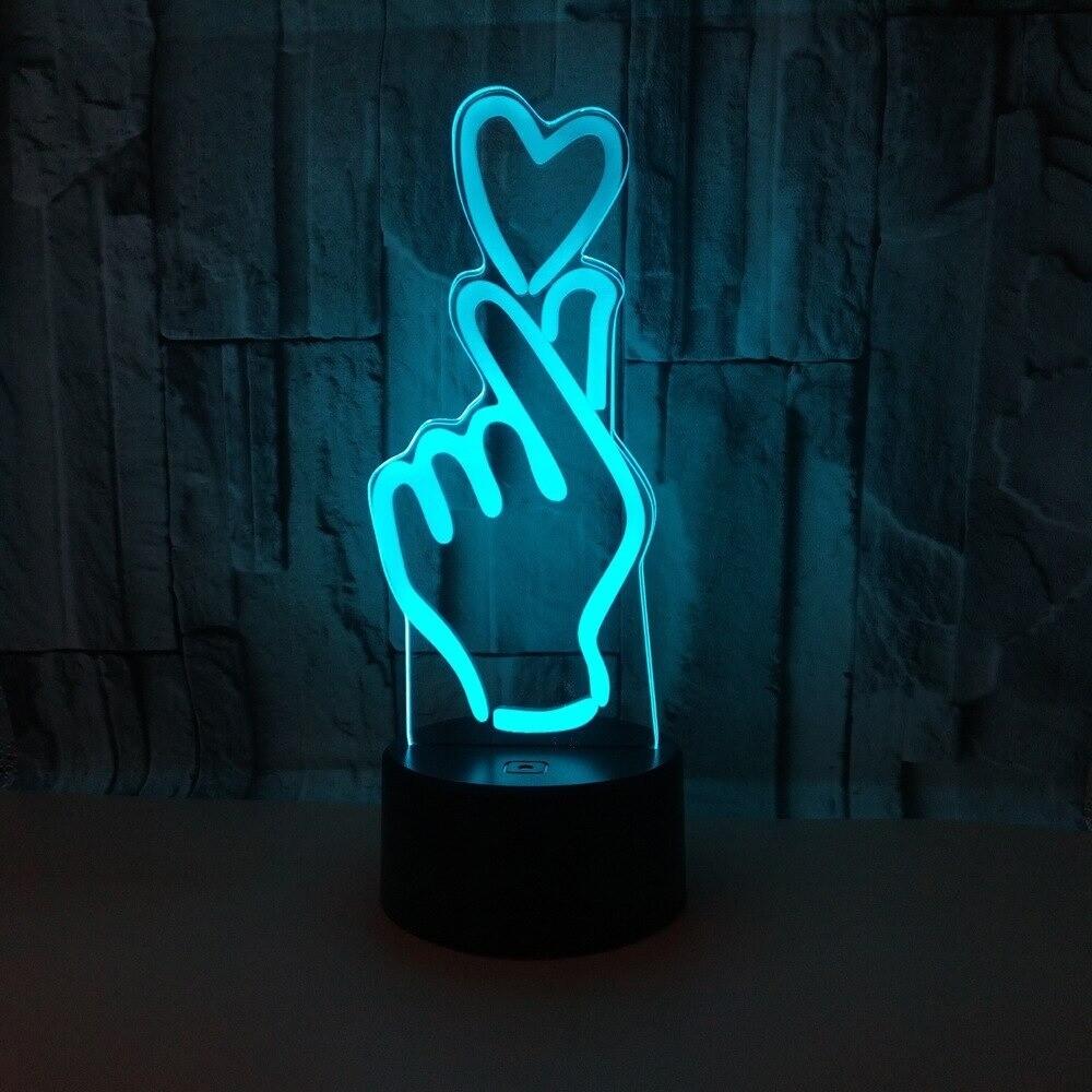Loving Hand Gesture - 3D Night Light Table Lamp