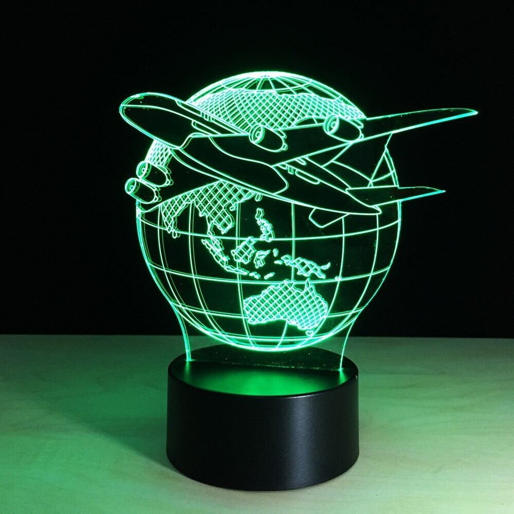 Planes Fly Earth - 3D Night Light Table Lamp