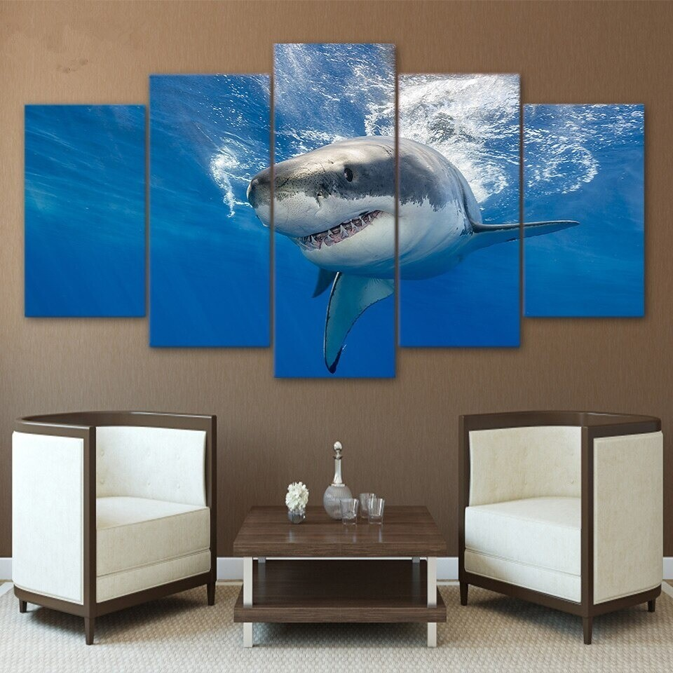 Abstract Shark - 5 Panel Canvas Print Wall Art Set