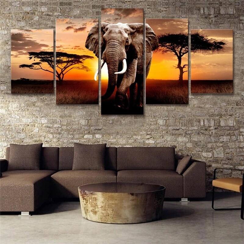 African Elephant - 5 Panel Canvas Print Wall Art Set