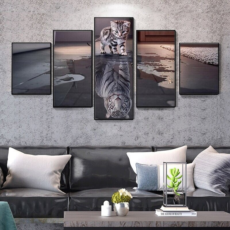 Animal Cat Tiger - 5 Panel Canvas Print Wall Art Set