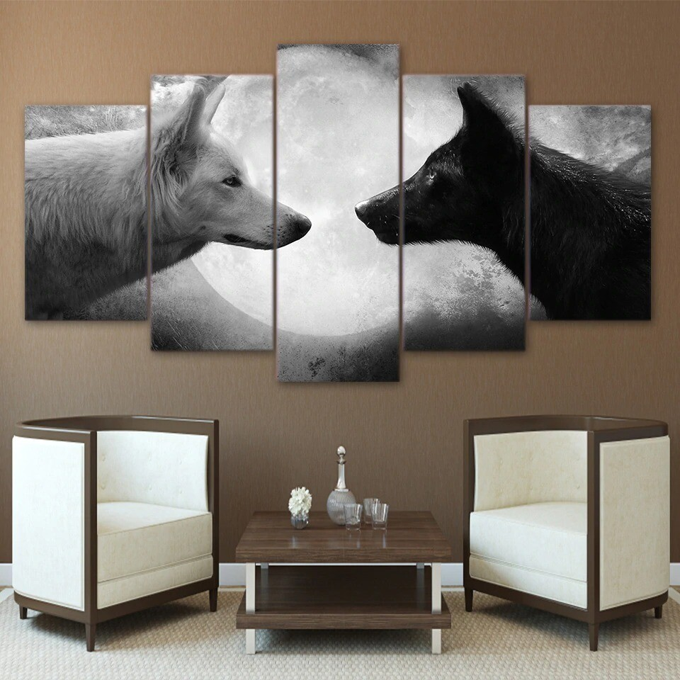 Black And White Wolves - 5 Panel Canvas Print Wall Art Set
