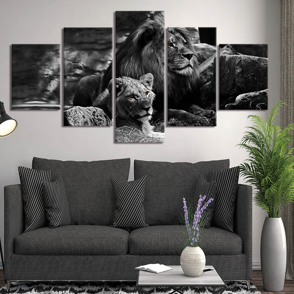Black Background Lion - 5 Panel Canvas Print Wall Art Set