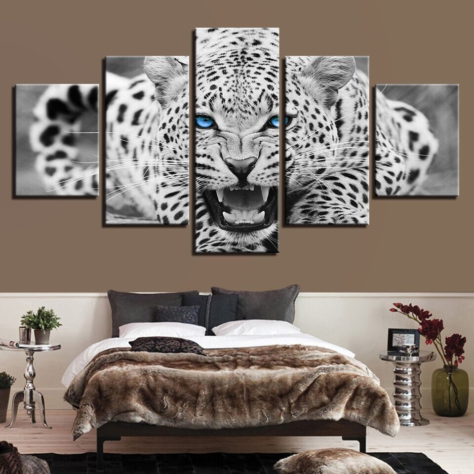 Blue Eyes Leopard - 5 Panel Canvas Print Wall Art Set
