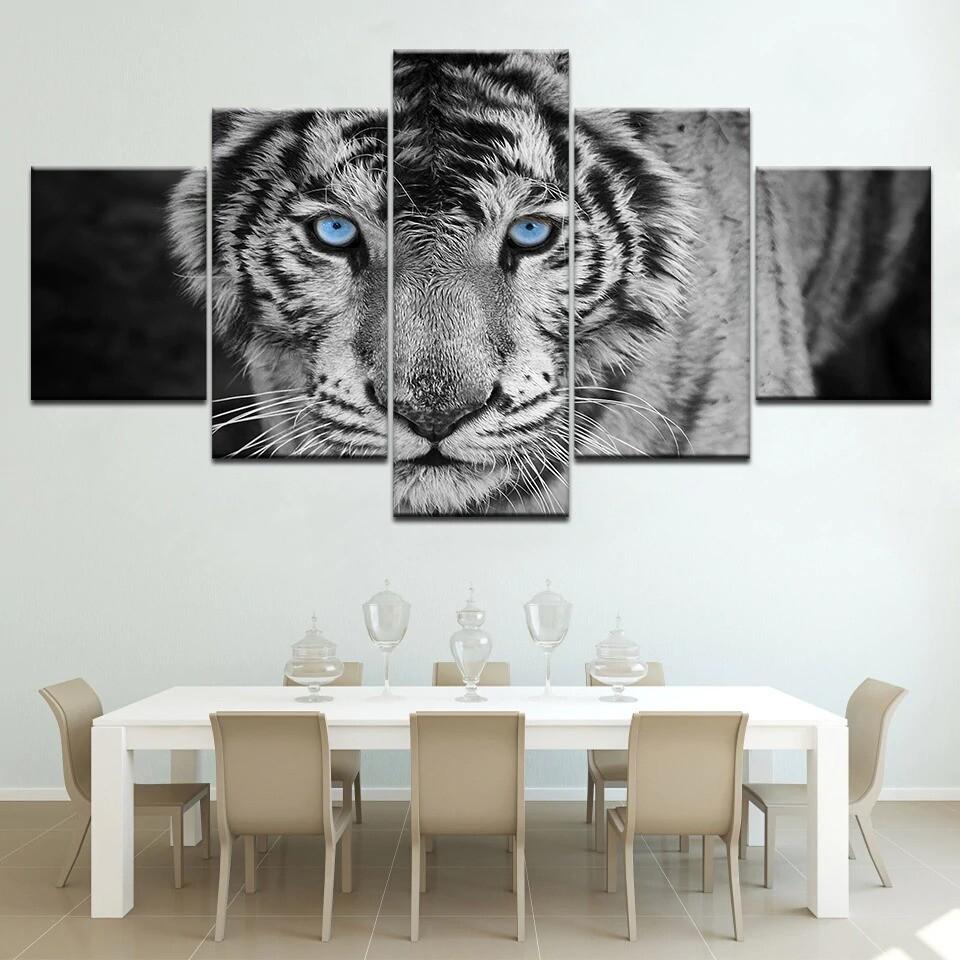 Blue Eyes Tiger - 5 Panel Canvas Print Wall Art Set