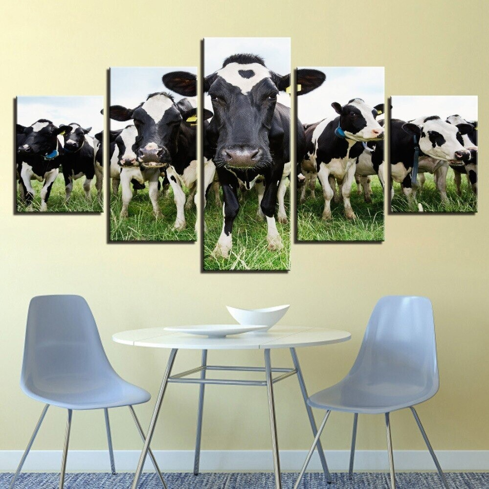 Dairy Milk Cows on the Grass - 5 Panel Canvas Print Wall Art Set