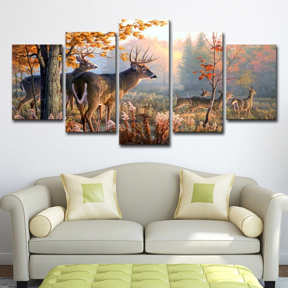Forest Deer Landscape - 5 Panel Canvas Print Wall Art Set