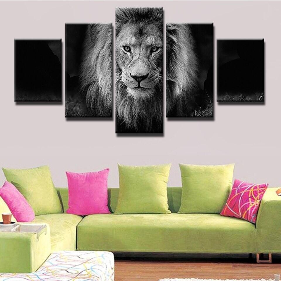 Lion Pictures - 5 Panel Canvas Print Wall Art Set